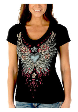 Liberty Wear Women's Vintage Wings & Stars Embellished Short Sleeve Tee - Black - Wisconsin Harley-Davidson