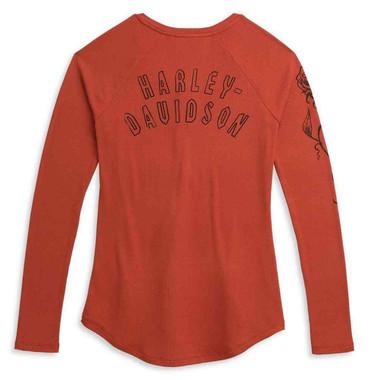 Harley-Davidson Women's Roses Long Sleeve Henley Knit Top, Red 96322-21VW - Wisconsin Harley-Davidson