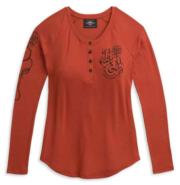 Harley-Davidson Women's Roses Long Sleeve Henley Knit Top, Red 96322-21VW - Wisconsin Harley-Davidson