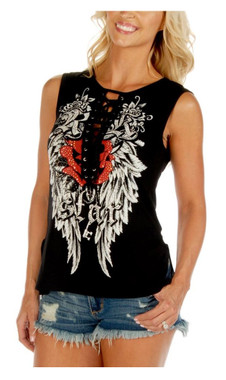 Liberty Wear Women's Embellished Rock Star Lace Up Sleeveless Tank Top - Black - Wisconsin Harley-Davidson