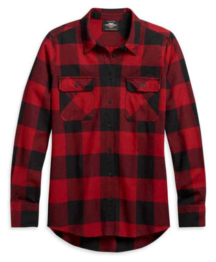 Harley-Davidson Women's Buffalo Plaid Long Sleeve Woven Shirt, Red 96309-21VW - Wisconsin Harley-Davidson