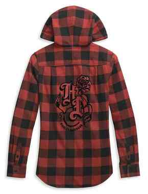 Harley-Davidson Women's Roses Hooded Plaid Shirt - Red & Black 96319-21VW - Wisconsin Harley-Davidson