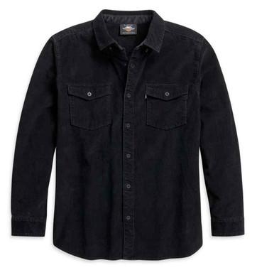 Harley-Davidson Men's Corduroy Long Sleeve Woven Shirt - Black 96104-21VM - Wisconsin Harley-Davidson