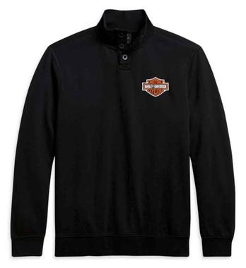 Harley-Davidson Men's Bar & Shield Button Mockneck Sweater - Black 96112-21VM - Wisconsin Harley-Davidson