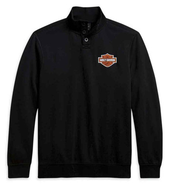 Harley-Davidson Men's Bar & Shield Button Mockneck Sweater - Black 96112-21VM - Wisconsin Harley-Davidson