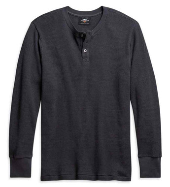 Harley-Davidson Men's Thermal Knit Long Sleeve Henley Shirt, Gray 96113-21VM - Wisconsin Harley-Davidson