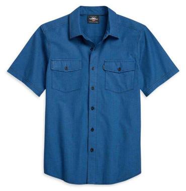 Harley-Davidson Men's Micro-Check Plaid Short Sleeve Woven Shirt 96128-21VM - Wisconsin Harley-Davidson