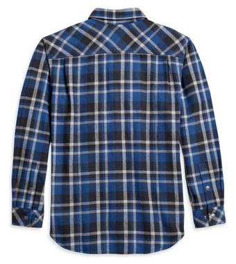 Harley-Davidson Men's Plaid Flannel Long Sleeve Woven Shirt - Blue 96133-21VM - Wisconsin Harley-Davidson