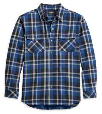 Harley-Davidson Men's Plaid Flannel Long Sleeve Woven Shirt - Blue 96133-21VM - Wisconsin Harley-Davidson
