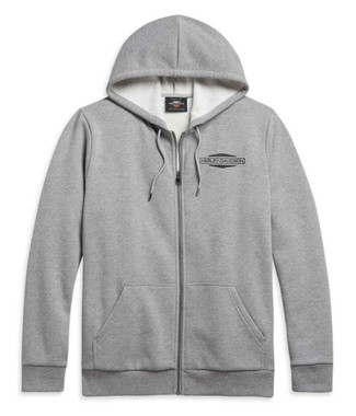 Harley-Davidson Men's Stacked Logo Zip-Up Hoodie - Heather Gray 96038-21VM - Wisconsin Harley-Davidson