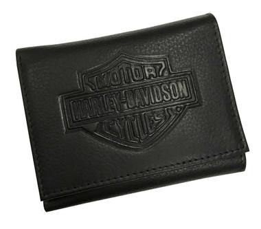 Harley-Davidson Men's Embossed B&S Pocket Tri-Fold  Leather Wallet XML3542-BLACK - Wisconsin Harley-Davidson