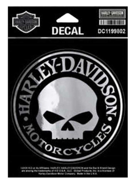 Harley-Davidson Chrome Willie G Skull Decal, SM Size - Silver & Black DC1199802 - Wisconsin Harley-Davidson