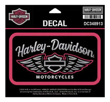 Harley-Davidson Winged Script Chrome Decal, MD Size - Pink & Black DC348913 - Wisconsin Harley-Davidson
