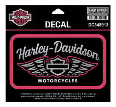 Harley-Davidson Winged Script Chrome Decal, MD Size - Pink & Black DC348913 - Wisconsin Harley-Davidson
