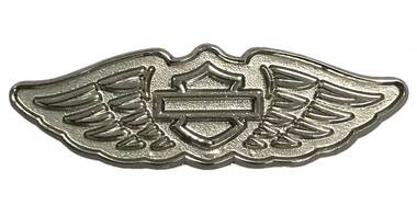 Harley-Davidson 2D Die Cast Winged B&S Logo Pin - Polished Silver Effect P348064 - Wisconsin Harley-Davidson