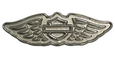 Harley-Davidson 2D Die Cast Winged B&S Logo Pin - Polished Silver Effect P348064 - Wisconsin Harley-Davidson