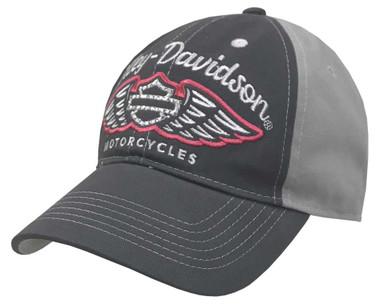 Harley-Davidson Women's Bling Winged Script Baseball Cap w/ Ponytail Opening - Wisconsin Harley-Davidson