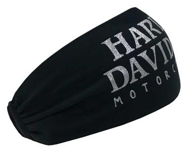 Harley-Davidson Women's Glittery Skull Text Headband Scrunchie, Black HE119930 - Wisconsin Harley-Davidson