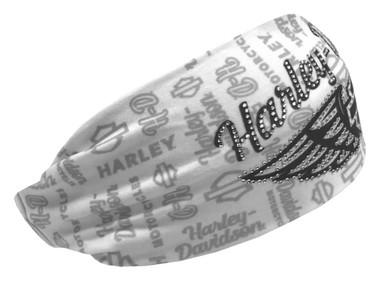 Harley-Davidson Women's Rhinestone Winged B&S Headband Scrunchie, White HE34863 - Wisconsin Harley-Davidson