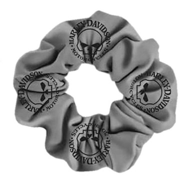 Harley-Davidson Women's Willie G Skull Cotton Hair Scrunchie - Gray HS119954 - Wisconsin Harley-Davidson