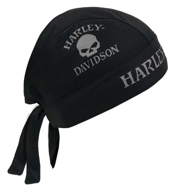 Harley-Davidson Men's Willie G Skull Perforated Mesh Headwrap, Black HW119975 - Wisconsin Harley-Davidson