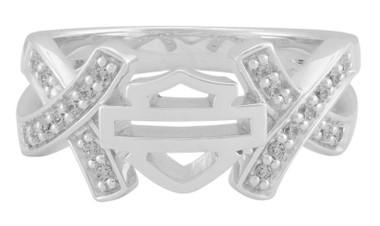 Harley-Davidson Women's Criss Cross White Crystal B&S Ring, Sterling Silver - Wisconsin Harley-Davidson