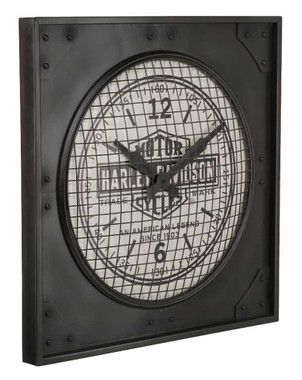Harley-Davidson Industrial Bar & Shield Metal Square Clock, 24 inch HDL-16644 - Wisconsin Harley-Davidson