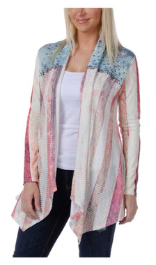 Liberty Wear Women's True Glory Flag Studded Long Sleeve Cardigan - Ivory - Wisconsin Harley-Davidson