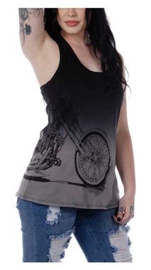 Liberty Wear Women's Turning Chrome Dip Dyed Sleeveless Tank Top - Black - Wisconsin Harley-Davidson