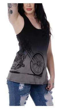 Liberty Wear Women's Turning Chrome Dip Dyed Sleeveless Tank Top - Black - Wisconsin Harley-Davidson