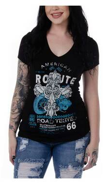 Liberty Wear Women's Road Tested Route 66 Embellished Short Sleeve Tee - Black - Wisconsin Harley-Davidson