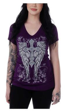 Liberty Wear Women's Wicked Winged Cross Embellished Short Sleeve Tee - Purple - Wisconsin Harley-Davidson