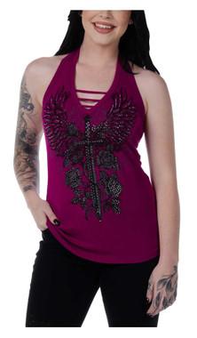 Liberty Wear Women's Embellished Vengeance Dagger Halter Top - Magenta Pink - Wisconsin Harley-Davidson