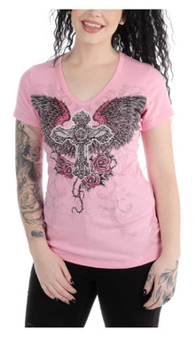 Liberty Wear Women's Temptress Winged Cross Embellished Short Sleeve Tee - Pink - Wisconsin Harley-Davidson