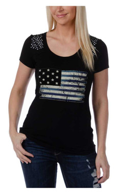 Liberty Wear Women's Liberty Flag Scoop Neck Casual Short Sleeve Tee - Black - Wisconsin Harley-Davidson