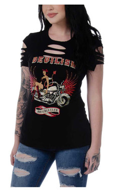 Liberty Wear Women's Devilish Vixen Embellished Short Sleeve Tee - Black - Wisconsin Harley-Davidson