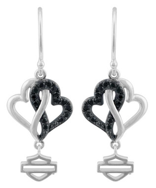 Harley-Davidson Women's Black & White Infinity Hearts Earrings, Sterling Silver - Wisconsin Harley-Davidson