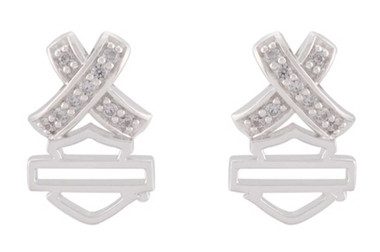 Harley-Davidson Women's Criss Cross Crystal B&S Post Earrings, Sterling Silver - Wisconsin Harley-Davidson