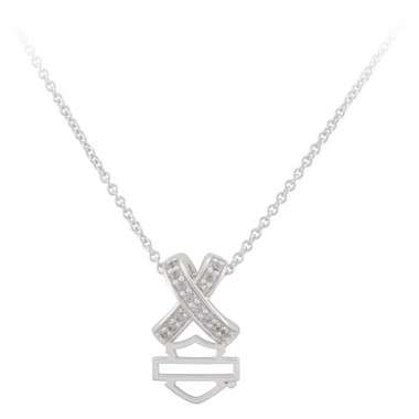 Harley-Davidson Women's Criss Cross Crystal B&S Necklace, Sterling Silver - Wisconsin Harley-Davidson