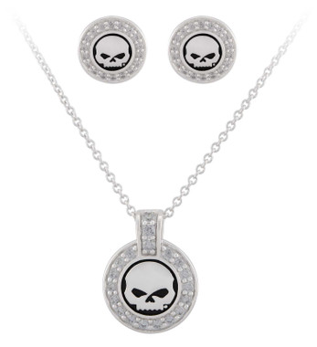 Harley-Davidson Women's Crystal Willie G Skull Necklace & Post Earrings Gift Set - Wisconsin Harley-Davidson