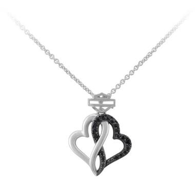 Harley-Davidson Women's Black & White Infinity Hearts Necklace, Sterling Silver - Wisconsin Harley-Davidson