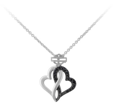 Harley-Davidson Women's Black & White Infinity Hearts Necklace, Sterling Silver - Wisconsin Harley-Davidson