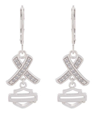 Harley-Davidson Women's Criss Cross Crystal B&S Drop Earrings, Sterling Silver - Wisconsin Harley-Davidson