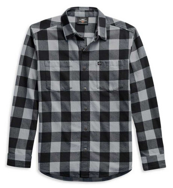 Harley-Davidson Men's Flag Label Plaid Long Sleeve Shirt - Black 99029-21VM - Wisconsin Harley-Davidson