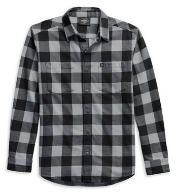 Harley-Davidson Men's Flag Label Plaid Long Sleeve Shirt - Black 99029-21VM - Wisconsin Harley-Davidson