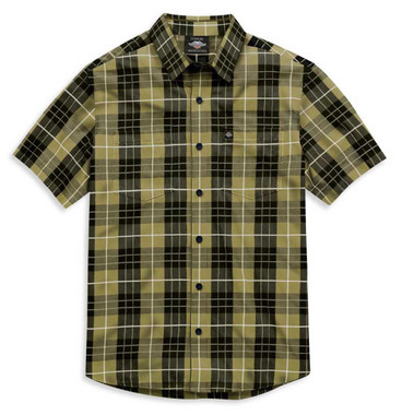 Harley-Davidson Men's Plaid Short Sleeve Woven Shirt  - Green 99030-21VM - Wisconsin Harley-Davidson