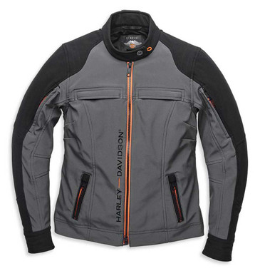 Harley-Davidson Women's New Horizon Windproof Softshell Jacket, Gray 98168-21VW - Wisconsin Harley-Davidson