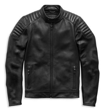 Harley-Davidson Mens Embossed Logo Padded Biker Leather Jacket, Black 98157-21VM - Wisconsin Harley-Davidson