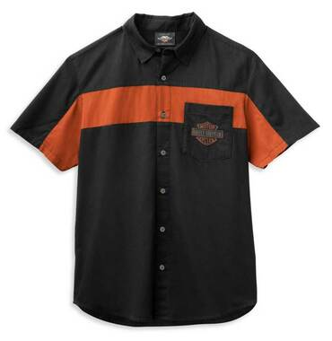 Harley-Davidson Men's Copperblock Logo Short Sleeve Woven Shirt 99070-21VM - Wisconsin Harley-Davidson