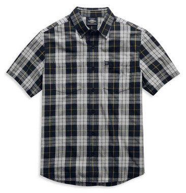 Harley-Davidson Men's Eagle Logo Plaid Short Sleeve Woven Shirt 99052-21VM - Wisconsin Harley-Davidson